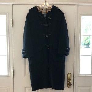 Vintage Burberry Black Wool Duffle Coat